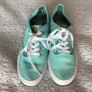 VANS shoes teal with pink 🌸 flowers
